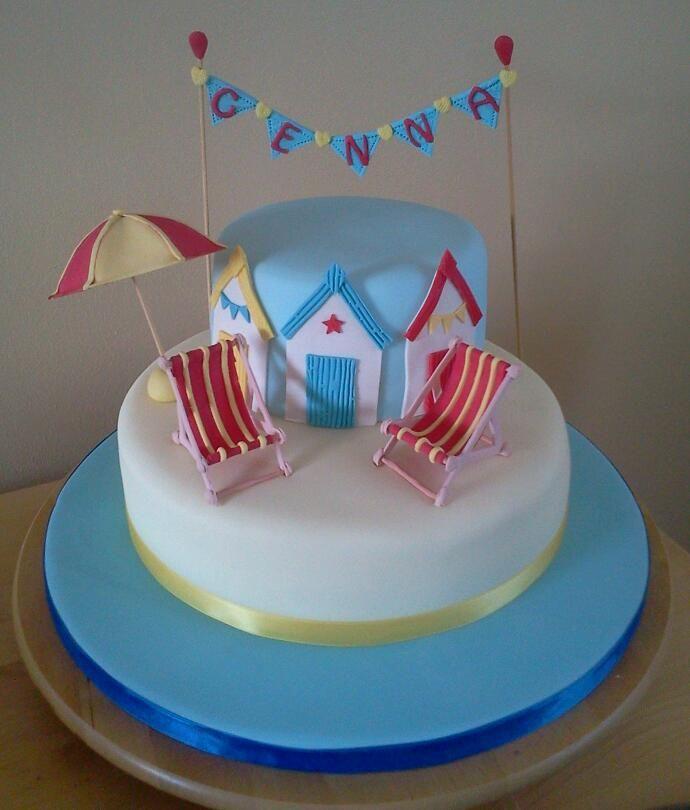 Beach hut theme birthday cake
