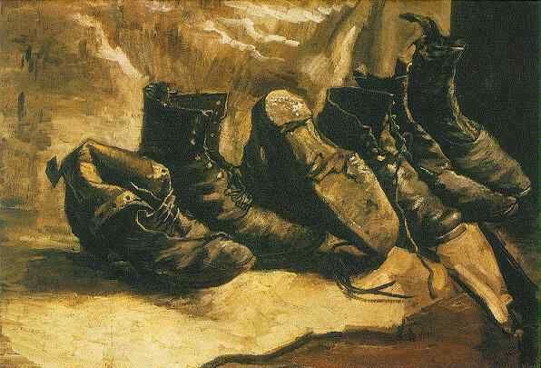 Vincent van Gogh - Three Pairs of Shoes, Oil on canvas. Paris, December, 1886, Cambridge: Harvard University, Fogg Art Museum