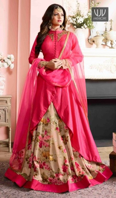 Drashti Dhami Attractive Hot Pink And Beige Designer Salwar Suit  Add a small burst of shade to your wardrobe with this hot pink and beige color silk designer salwar suit. The embroidered and resham work appears to be chic and great for party and wedding.