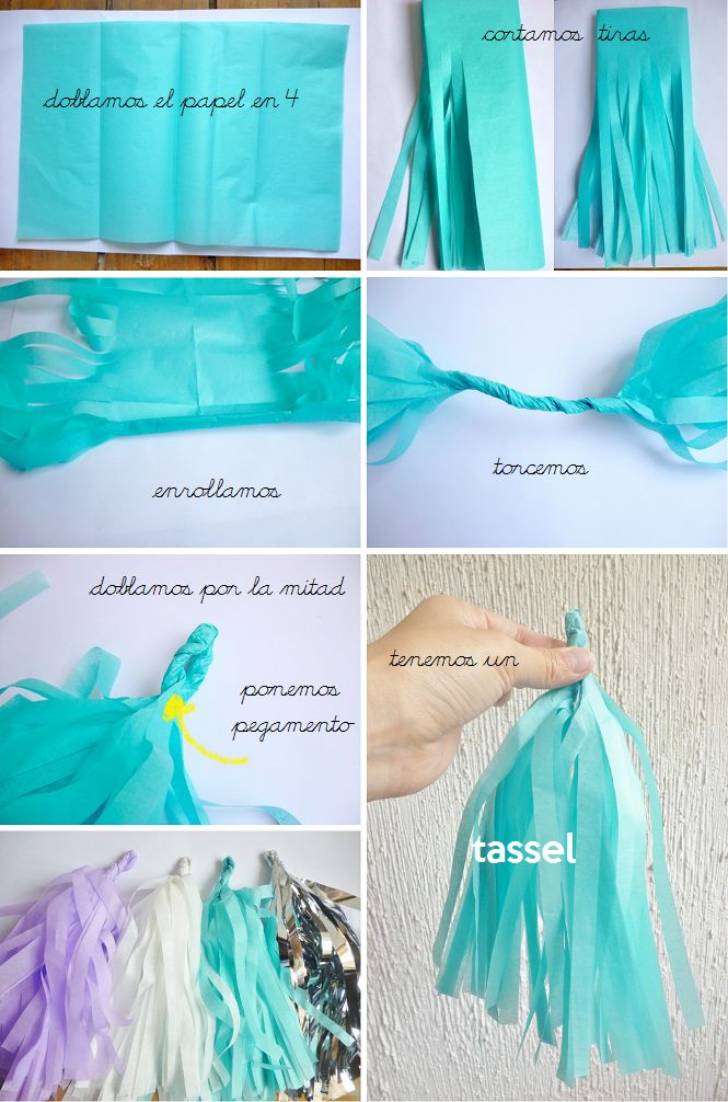 manitas de gato diy tassels de papel china