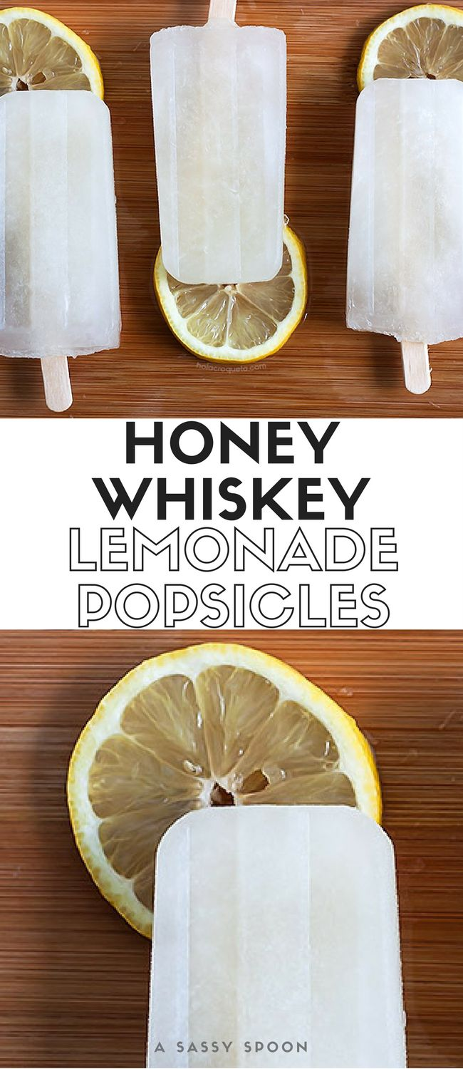 Fresh homemade lemonade and honey whiskey in popsicle form! via @asassyspoon