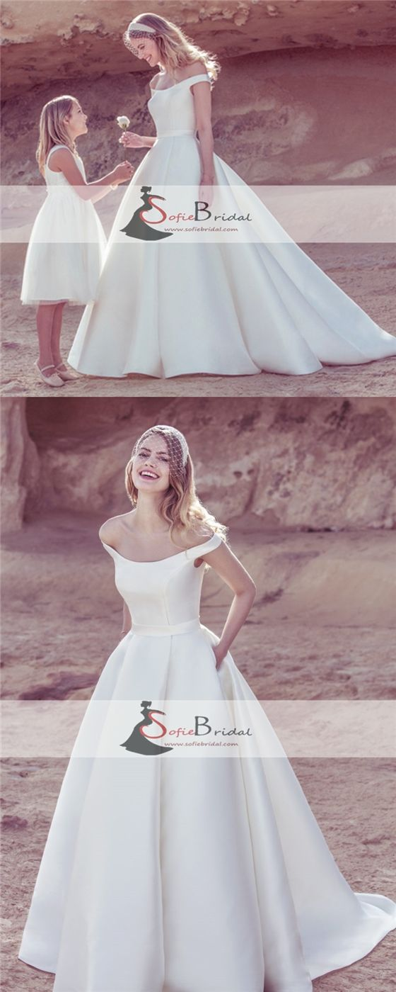 Off Shoulder Satin Wedding Dresses, A-Line Elegant Wedding Dresses, V-neck Bridal Gown, WD0266