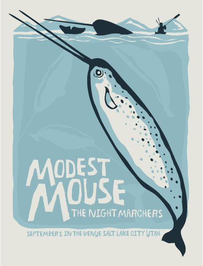 Modest Mouse gig poster by Fur Turtle Show Prints