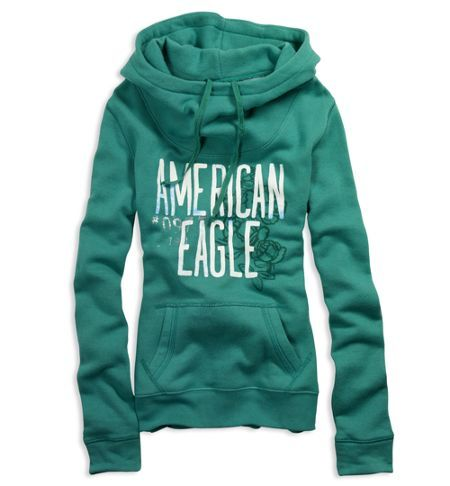 American Eagle Hoodie | Mikina American Eagle Outfitters Slouchy Hoodie Zelená » WestOutlet