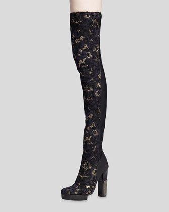 Lanvin Brocade Over-the-Knee Boot