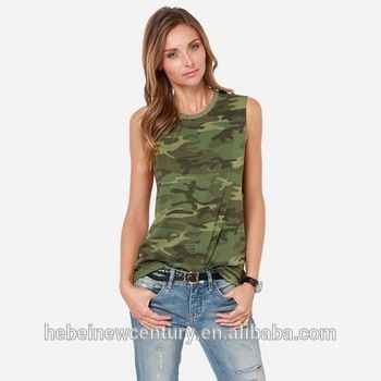 Europe And The United States 2014 Trend Of The Camouflage Sleeveless T-Shirt Female Elastic Tank Vest Of Cultivate One'S Moralit