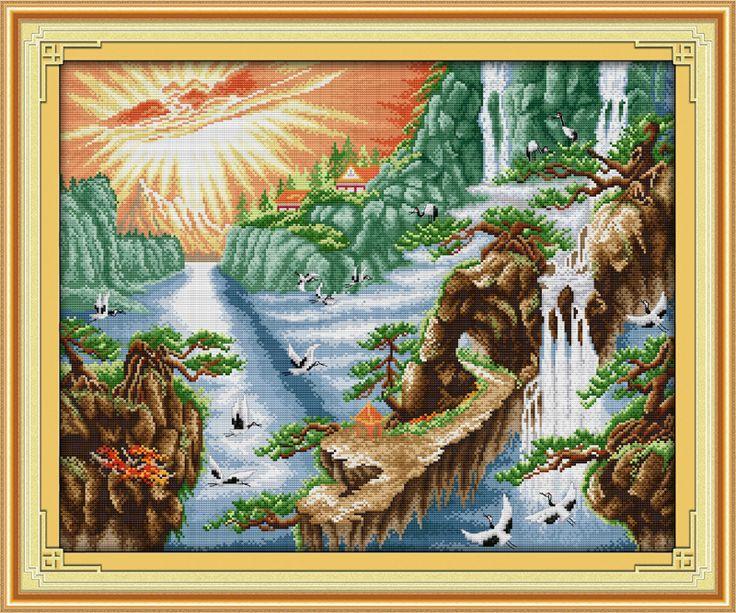 Саншайн водопад подсчитывали напечатаны на ткани DMC 14CT 11CT Вышивка Крестом наборы, вышивка рукоделие Наборы, Домашний Декор