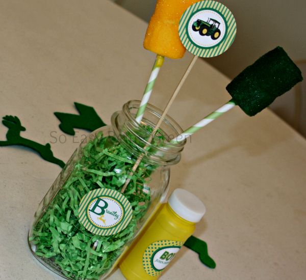 John Deere Centerpiece --> love this idea for a mason jar