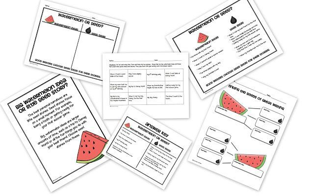 watermelon vs. seed writing pack for small moment/personal