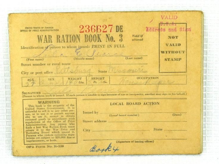 Pair of WW II War Ration Books No 3 with Rationing Stamps Inside
