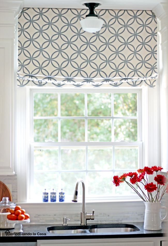 Diy Relaxed Roman Shade In Eaton Alana Navy Fabric In 2020 Kitchen Window Coverings Kitchen Window Treatments Roman Shades Living Room