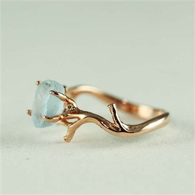 Unique Branch and Natural Blue Topaz Ring