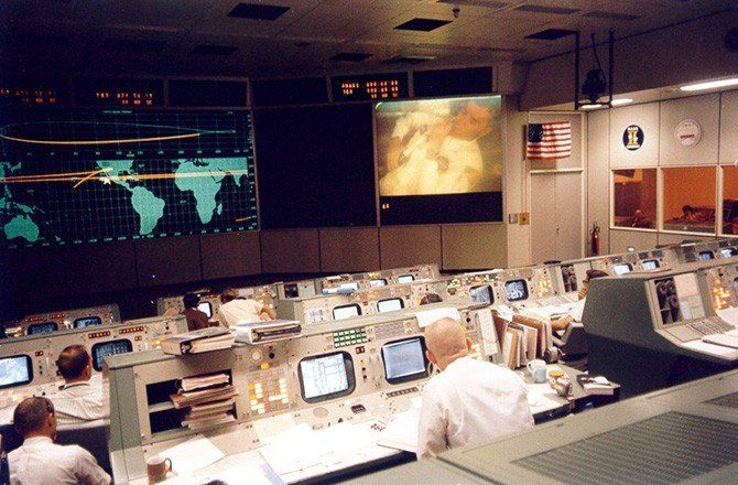 45 Years Later: Apollo 13 Life Lessons - Fred Haise appears on screen at mission control for a public relations appearance minutes before the explosion that would cripple the Apollo 13 spacecraft. |