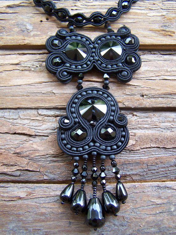 Soutache Jewelry Very Elegant  Black Necklace by PanitaJewellery, $185.00