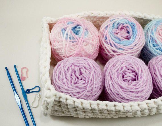 Beginner Crochet Kit Mini Skein Set Variegater Yarn Lot Blue And