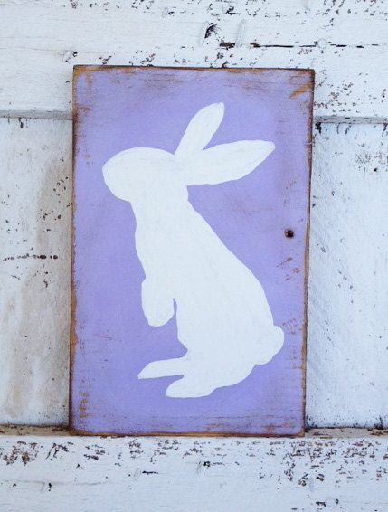 Shabby Chic Sign Easter White Bunny Hand painted Purple recycled wood on Etsy, $24.00