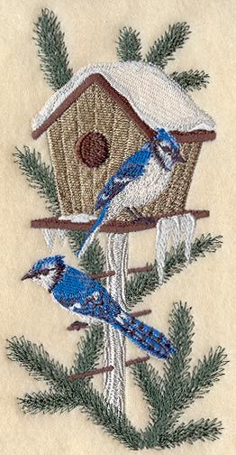 Embroidery library blue jay and machine