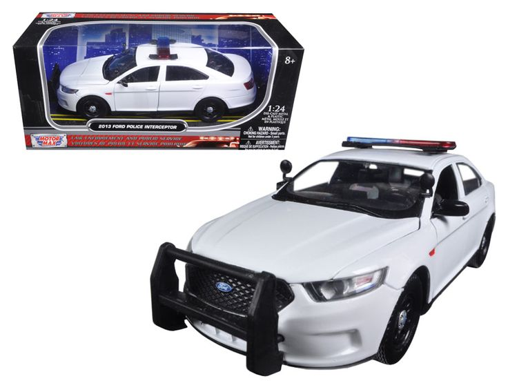2013 Ford Police Interceptor Unmarked White Police Car 1/24 Diecast Car Model by Motormax - Brand new 1:24 scale diecast model car of 2013 Ford Police Interceptor White unmarked Police Car by Motormax. Brand new box. Rubber tires. Made of diecast with some plastic parts. Detailed interior, exterior. Has opening hood and doors. Dimensions approximately L-8, W-3.25, H-2.75 inches. Please note that manufacturer may change packing box at any time. Product will stay exactly the same.-Weight: 2…