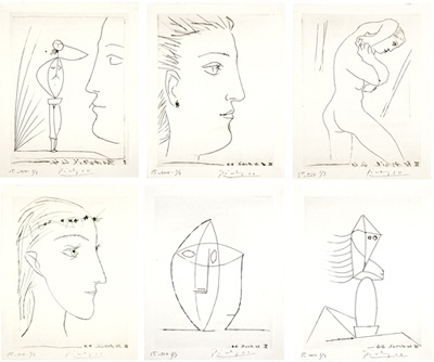 "Six Contes fantasques (Bloch 363 - 368) 1944 (30 April, Paris) Suite of six engravings with burin printed on laid Montval including: Profil et Femme nue; Nu au collier; Profil de Femme; Sculpture; Tête; Jeune Fille de Profil couronnée de fleurs Signed lower right and numbered ""1st état 1/3"" lower left, in blue ink One of three suites of the first state printed before steelfacing Printed by Lacourière, 1953 Published by Flammarion as illustrations for Maurice Toesca's Six Contes fantasques…"