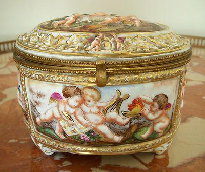 RARE Early 19th Century Antique Naples Capodimonte Jewelry Box! GORGEOUS!!!