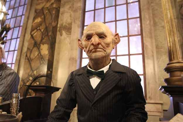 If you go up to a goblin at Gringotts and ring the bell by their desk, they'll look right at you.