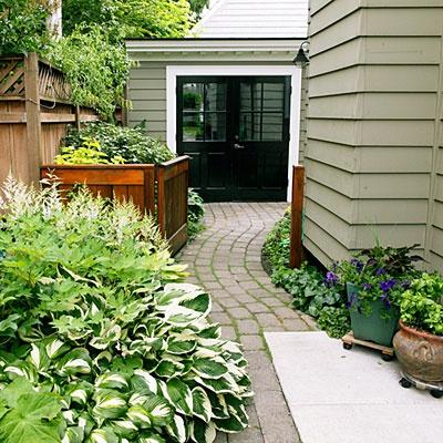 Garden. Pathway. House colour.