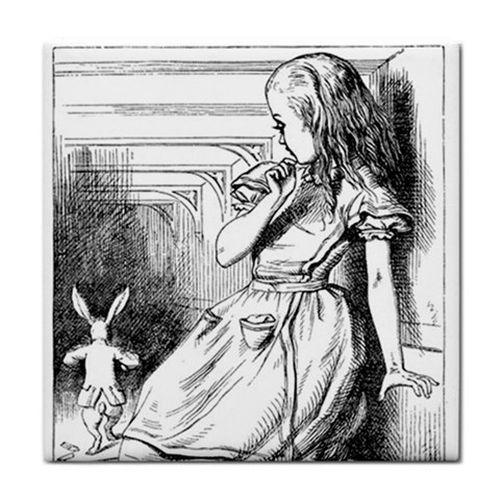 Alice In Wonderland Grows Large Rabbit Art Ceramic Tile