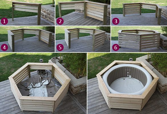 Jacuzzi Spa Gonflable Habillage En Bois Spa Gonflable Intex - Aquazendo En 2019