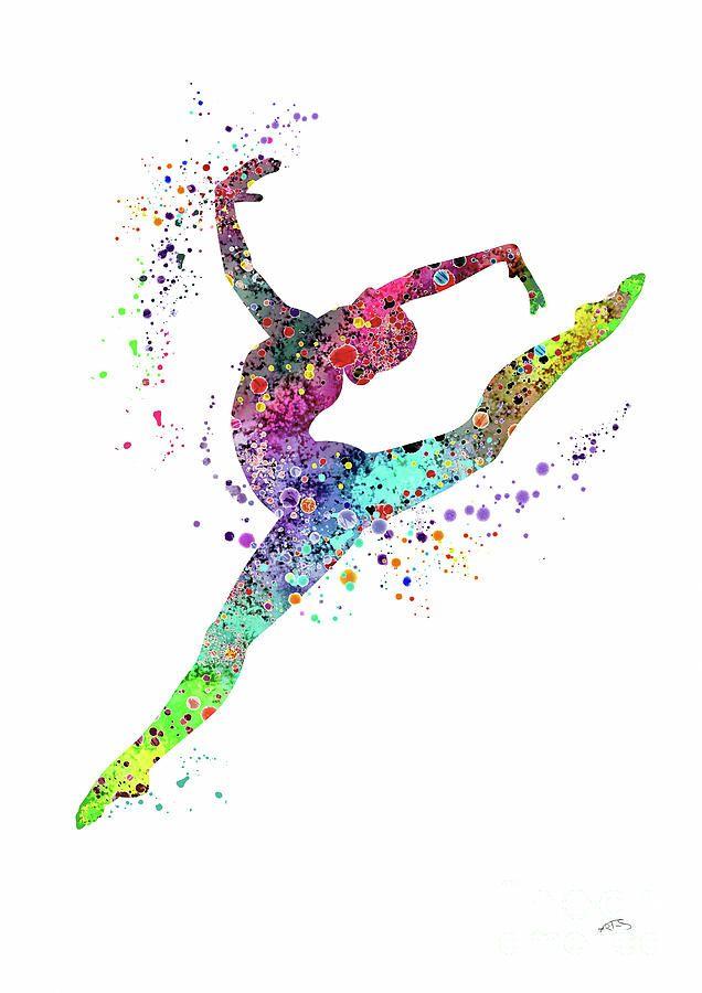 Gymnast Art Print Sports Print Watercolor Print Gymnast Girl Illustration Digital Art by Svetla Tancheva
