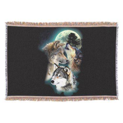 #Fantasy Wolf Moon Mountain Throw Blanket - customized designs custom gift ideas