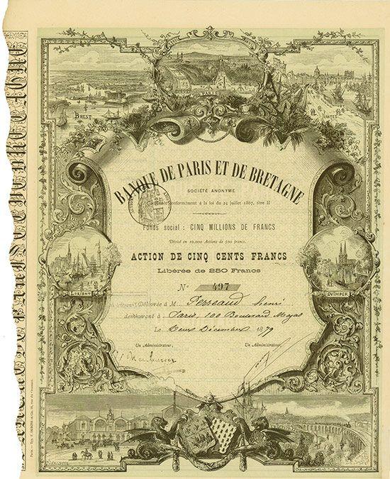 Banque de Paris et de Bretagne Société Anonyme Paris, 02.12.1879, Aktie über 500 Francs, Libérée de 250 Francs, #497, 36,6 x 25,7 cm, grün, schwarz, KR anhängend.