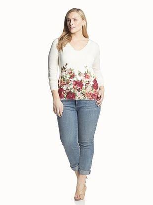 73% OFF Kier & J Plus Women's Printed V-Neck Pullover (Cream White)
