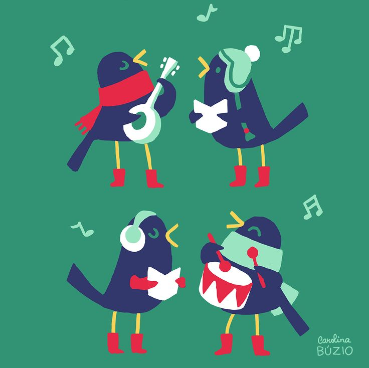 4 Calling Birds by Carolina Buzio  Available as a christmas card on my shop:  https://www.etsy.com/listing/211818988/twelve-days-of-christmas-greeting-cards