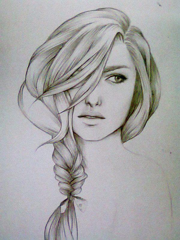 Sketch hair pencil drawings of girlshair