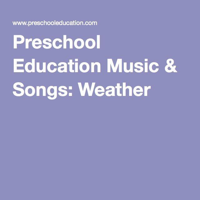 Preschool Education Music & Songs: Weather
