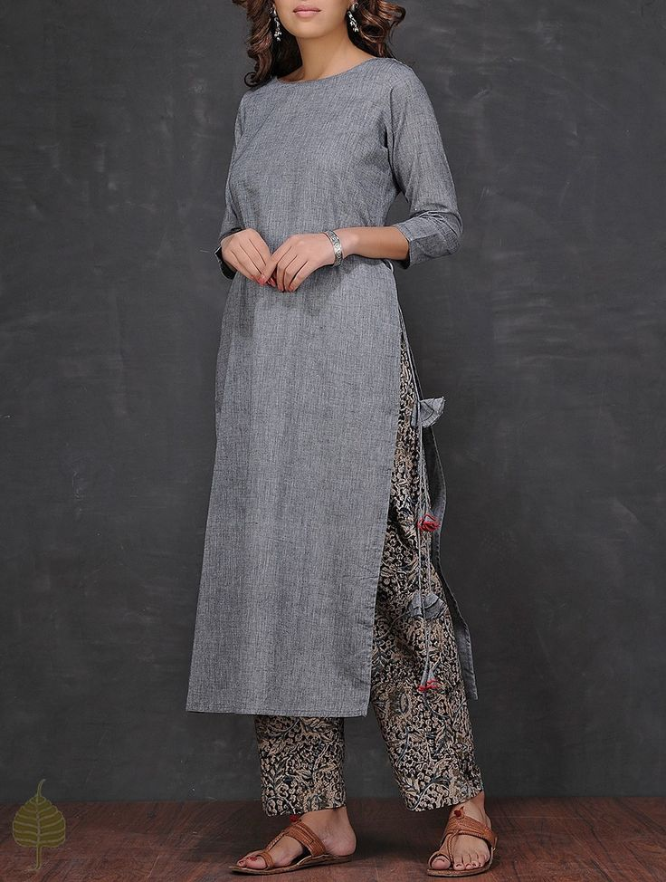 Buy Grey Boat Neck Mangalgiri Cotton Kurta by Jaypore Women Kurtas Coromandel Connections Kalamkari printed palazzos and pants Online at Jaypore.com