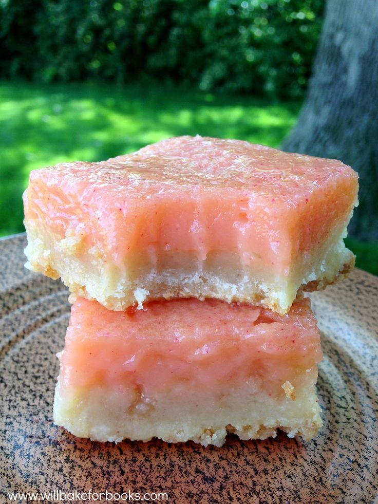 Pink Grapefruit Bars with Rosemary Crust