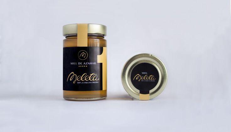 Diseño de packaging de la marca Meleta de Castellón. Miel 100% spain.