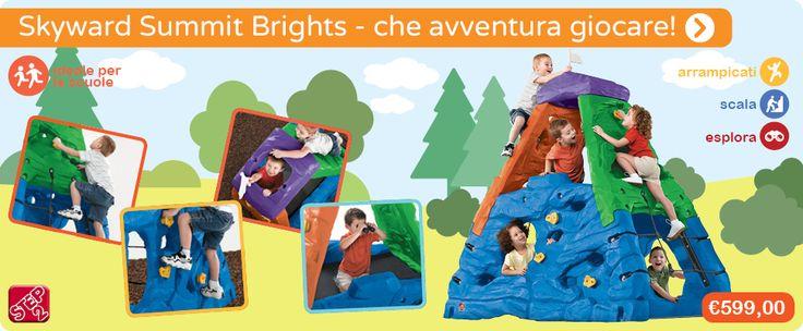Giocare è un'avventura entusiasmante con Skyward Summit Brights! Arrampicati, scala, salta ed esplora con tutti i tuoi amici con questo prodotto multi-attività colorato e adatto all'outdoor!