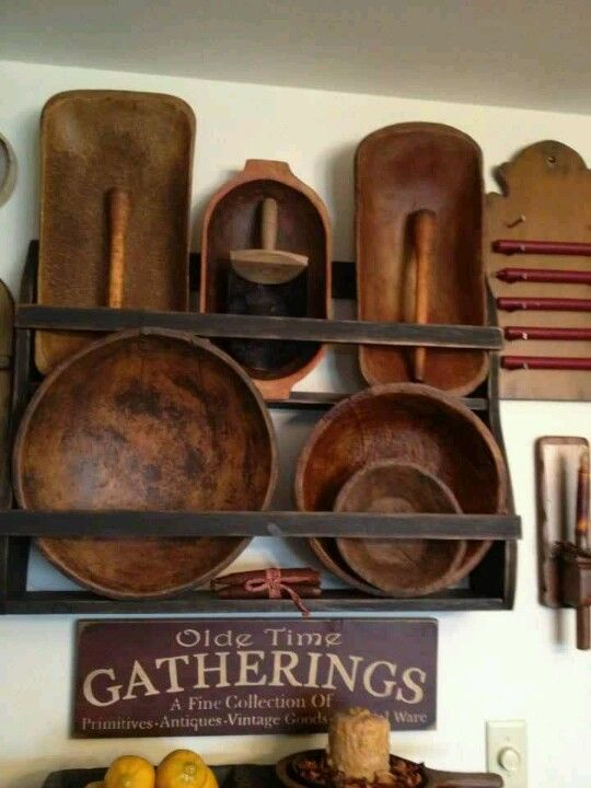 Old Prim Bowls & Wooden Rack...love the sign!.. love the gathering...