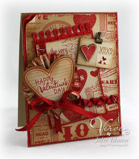 Shabby Valentine Card...with red trim & hearts.  LOVE this!