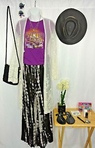 Bohemian-Clothing-Lot-Boho-Gypsy-Spell-Duster-Flares-Urban-Outfitters-Moon-70s-S