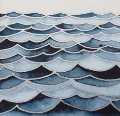 WAVES 4/ Watercolor seascape/ Original wall art/ Hand painted watercolor/ Nautic…
