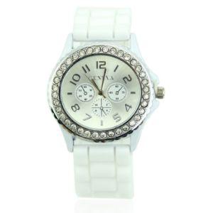 Bayan Kol Saati Kristal Taşli Silikon Kol Saati Beyaz
