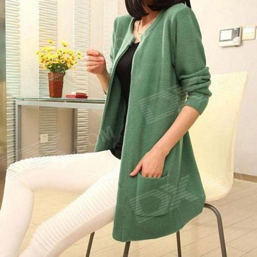 Fashion Ladies Knitting Cardigan Coat - Pea Green