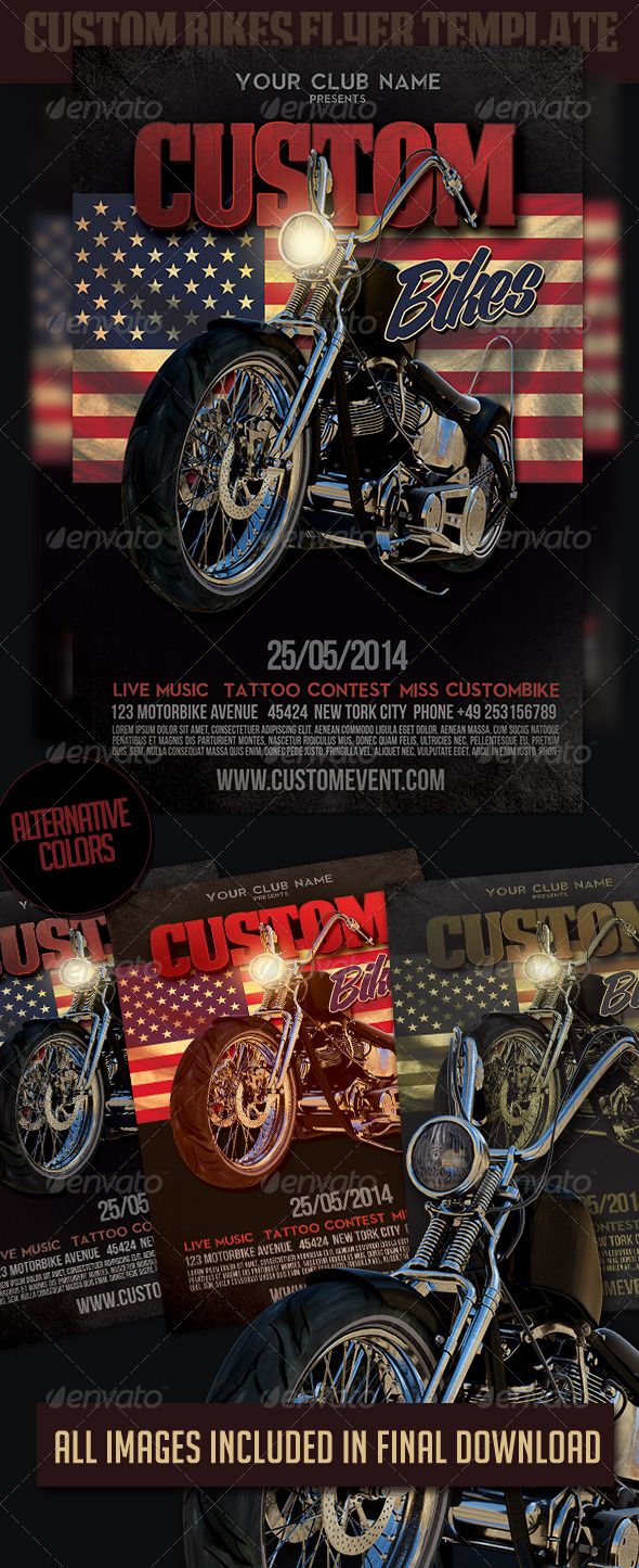 Custom Bikes Flyer Template is perfect for a Custom Bikes event, custom contest or any custom motorcyclesparty. PDF with step by step instructions PRINT READY CMYK FLYER 4 in x 6 in (pixels: 12751875 ) Safe Guides Fonts Free Font Deathe Maach NCV de Fontr