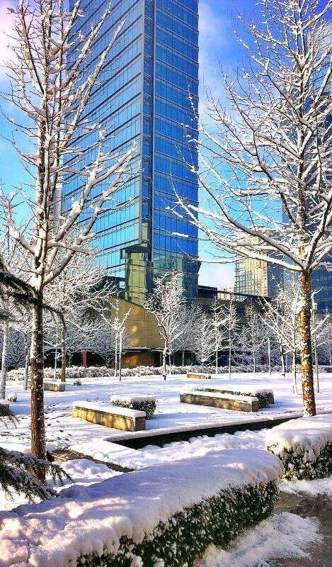 Beijing in the snow. Chaoyang District.