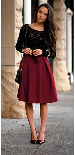 Burgundy Wine High Waist Knee Length Scuba Flare A Line Pleated Midi Skirt