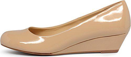 Marco Republic Amsterdam Memory Foam Cushion Womens Low Wedges Heels Comfort Pumps - (Dark Beige Patent) - 6