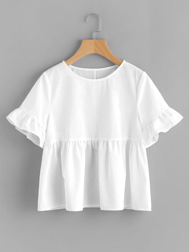 Shop Ruffle Sleeve Babydoll Top online. SheIn offers Ruffle Sleeve Babydoll Top & more to fit your fashionable needs.